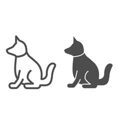 Dog line and glyph icon animal vector