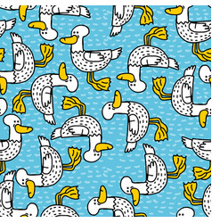 duck cartoon pattern drake drawing ornament bird vector image