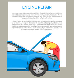 Engine repair process and busy mechanic on work vector