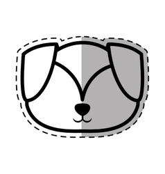 Face puppy adorable pedigree dot line shadow vector