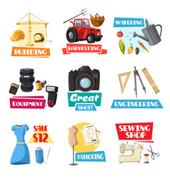 farming engineering sewing or photo items vector image