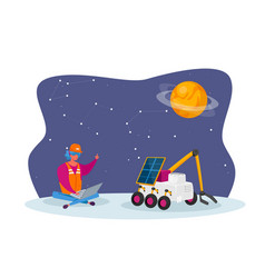 female engineer control rover moving on alien vector image