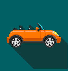 flat icon convertible compact car with long shadow vector image