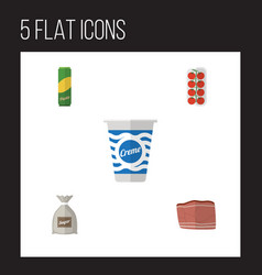flat icon eating set of sack beef yogurt and vector image