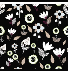 folk brown blue and white flowers on black vector image