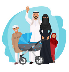 friendly arabic cartoon family stands together vector image