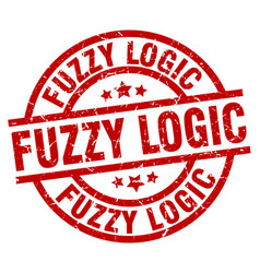 Fuzzy logic round red grunge stamp vector