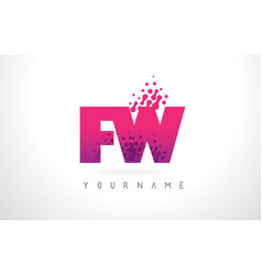 fw f w letter logo with pink purple color and vector image