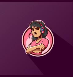 gamer girl mascot e sports gaming logo design vector image
