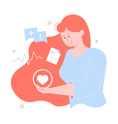 girl character holds heart women health vector image