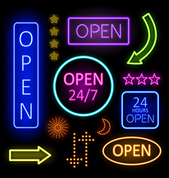 Glowing Neon Lights for Open Signs vector image