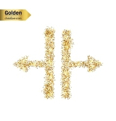 Gold glitter icon of Splitter isolated on vector