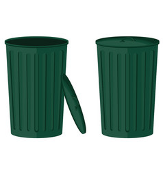 green trash in open and closed collection vector image