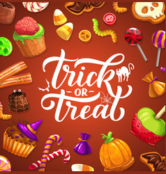 Halloween trick or treat poster with lettering vector