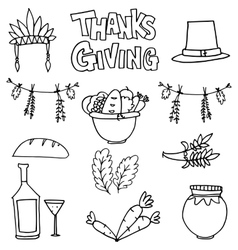 Hand draw collection thanksgiving doodles vector