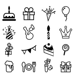 happy birthday icon set vector image