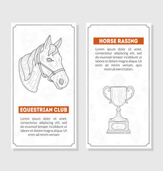 horse sport cards templates with place for text vector image