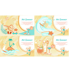 Hot summer web banner with entertainment kinds vector