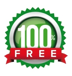 Hundred percent free badge with ribbon vector image