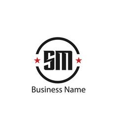initial letter sm logo template design vector image