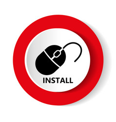 Install icon modern design of red and whit vector