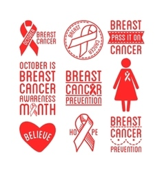International Day of Breast Cancer Awareness Set vector