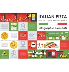Italian Pizza infographic elements Flat concept vector image