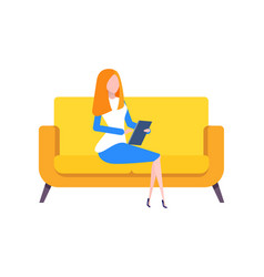 lady with gadget working from home person vector image