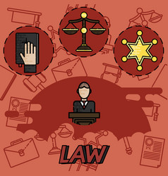 law flat concept icons vector image