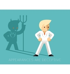 Light businessman and shadow devil Appearances vector