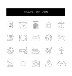 line icons set travel pack vector image