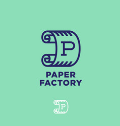 Logo paper factory green roll of paper vector