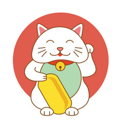maneki neko lucky cat kitten icon flat web sign vector image