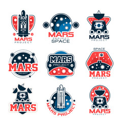 Mars project labels set mars colonization program vector