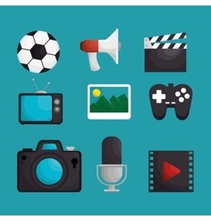 media entertainment set icons vector image