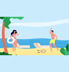 meeting on beach man woman vacation summertime vector image