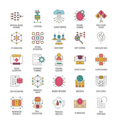 Neural network icons set cartoon style vector