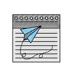 Notebook sheet with paper airplane vector