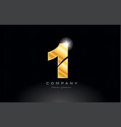 number 1 one gold golden metal logo icon design vector image