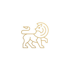 Outline icon walking lion hand drawn with thin vector