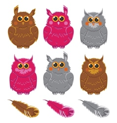 Owls pink brown gray plumage vector