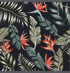 palm leaves tropical flowers seamless black vector image