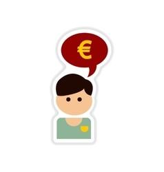 Paper sticker on white background man idea money vector