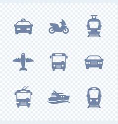 passenger transport icons public transportation vector image