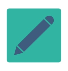 Pencil flat cobalt and cyan colors rounded button vector