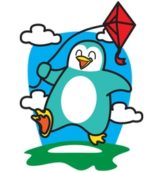Penguin Playing Kites vector image