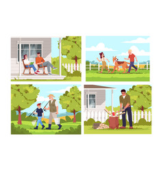people relax in village semi flat set vector image