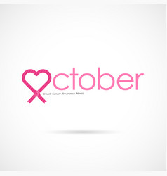 Pink heart ribbon signbreast cancer october vector