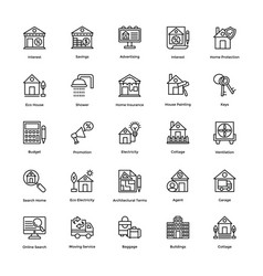 real estate line icons set 2 vector image