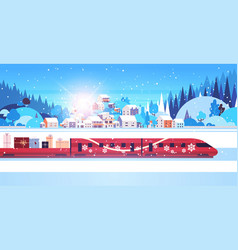 red train delivering gifts merry christmas happy vector image